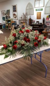Full Casket Spray of Roses and Baby's Breath